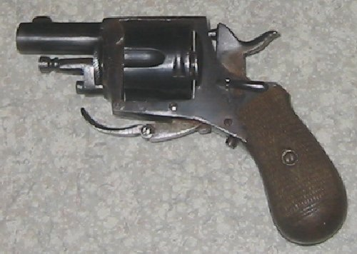 British Bulldog Revolver belgian made cal 320 CF with leather holster