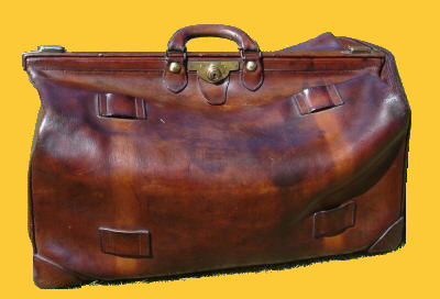 Antique Leather Luggage : Travel Bag c 1900's