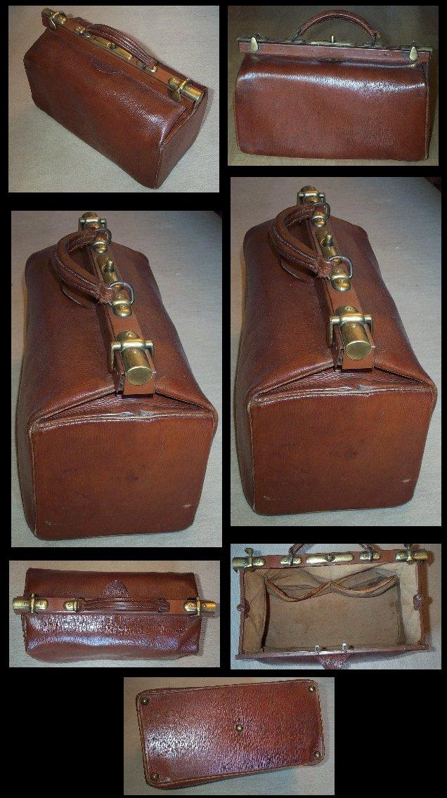 ancienne sacoche de m decin en cuir avec fermoirs laiton c 1910. Black Bedroom Furniture Sets. Home Design Ideas